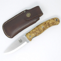 TBS Boar Folding Lock Knife - Curly Birch - Belt Pouch